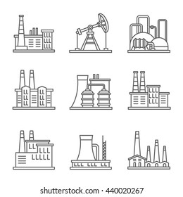 Heavy industry power plant and factory thin line vector icons.