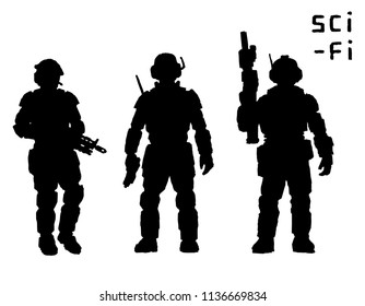 Heavy infantry in armor suit with plasma rifle. Vector illustration. Science fiction original character.