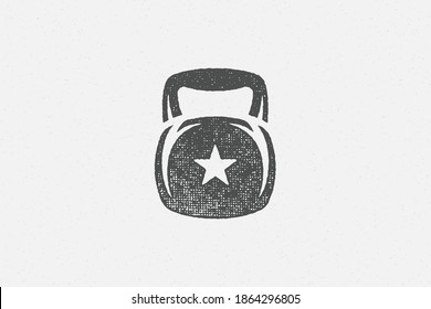 Heavy kettlebell silhouette as symbol of weightlifting workout hand drawn stamp vector illustration. Grunge texture on old paper for poster or label decoration