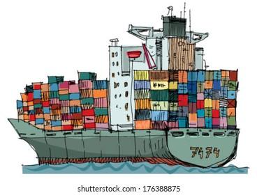 heavy loaded container ship - cartoon