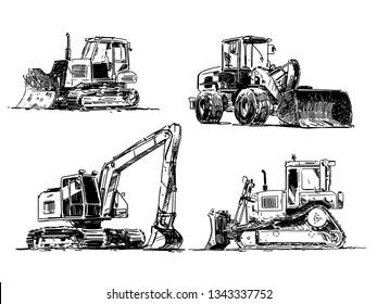 Heavy Machinery. Building Machines. Excavator, bulldozer, Loader