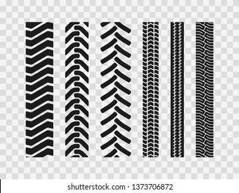 Heavy machinery tires track patterns, building of agricultural vehicles tires footprints,  industrial transport ground trace or marks textures as seamless loopable elements