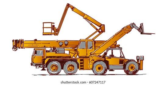 Heavy machines. Telescopic loader, truck crane, bucket truck