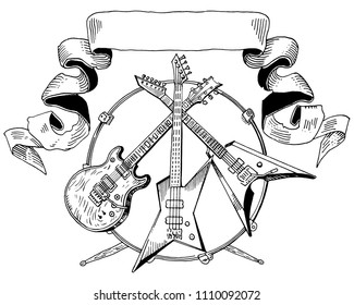 Heavy metal coat of arms. Electric guitar, bass, drums line art isolated. Hand drawn engraving style vector illustration. Rock music, concert, festival banner, t shirt print, band logo template.