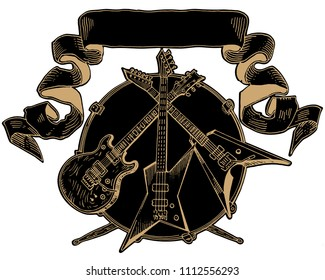 Heavy metal coat of arms. Electric guitar, bass, drums line art on black. Hand drawn engraving style vector illustration. Rock music, concert, festival banner, t shirt print, band logo template.