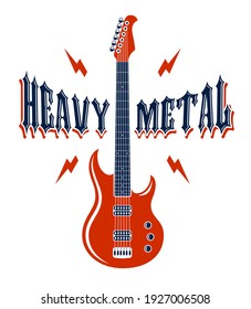 Heavy Metal emblem with electric guitar vector logo, concert festival or night club label, music theme illustration, guitar shop or t-shirt print, rock band sign with stylish typography.