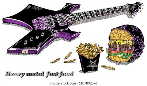 Heavy metal fast food: black electric guitar, french fries, evil burger in wrap with pentagram isolated on white. Hand drawn sketchy style vector illustration. Rock music festival concert poster.