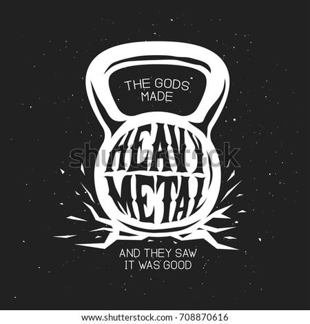 5e9bb6db447 Heavy metal kettlebell t-shirt design. Monochrome rock music related design  element for prints