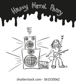 Heavy metal party poster - hand drawn style metal-head man with guitar. Musician vector illustration.