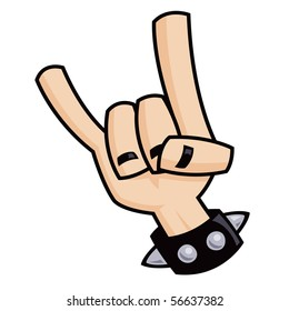 Heavy metal, rock and roll, devil horns hand sign with a black leather studded bracelet.