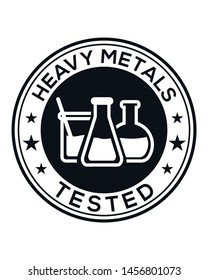 Heavy metals tested illustration/icon as a vector badge