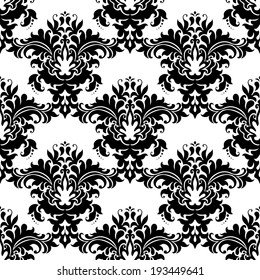 Heavy ornate seamless arabesque pattern with closely packed large floral motifs in black and white suitable for damask style fabric