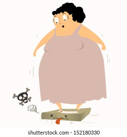 Too heavy! Overweight woman standing on scales and causing the scale broken. Obesity concept. Vector illustration.