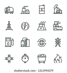 Heavy And Power Industry web icon set - outline icon collection, vector. Editable Stroke. 48X48 Pixel Perfect.