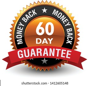 Heavy, powerful, Medal, Label, Icon, Seal, Sign, 60 day money back guarantee badge with red ribbon on top, Isolated on White Background.
