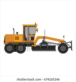 Heavy powerful motor grader. Isolated on a white background. Heavy industry, engineering, construction. Flat design. Vector illustration.
