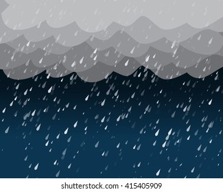 Heavy rain in dark sky, vector background