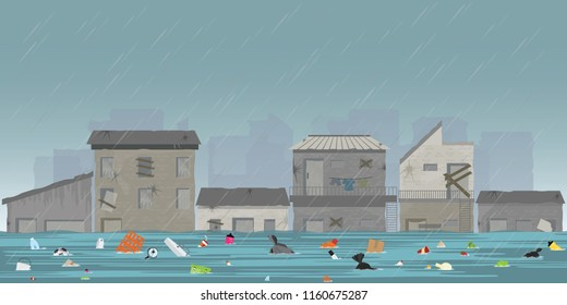 Heavy rain drops and city flood in slum city with garbage floating in the water, vector illustration.