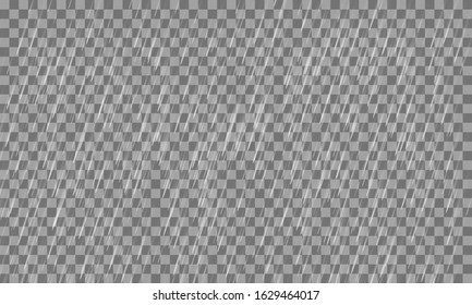 Heavy rain on a transparent background. Vector illustration