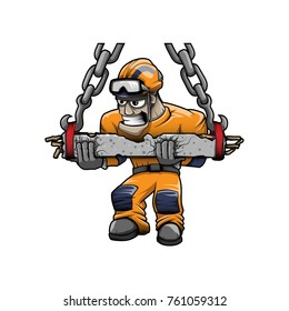 Heavy Rigger Rescuer vector color drawing mascot