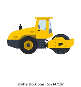 Heavy road roller on white background