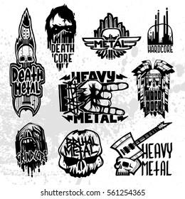 Heavy rock music badge vector set.