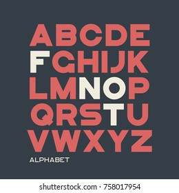 Heavy sans serif typeface design. Vector alphabet, letters, font, typography.