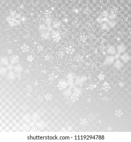 Heavy snowfall, snowflakes in different shapes and forms, vector illustration. Many white cold flake elements isolated on transparent background. White snowflakes flying in the air.