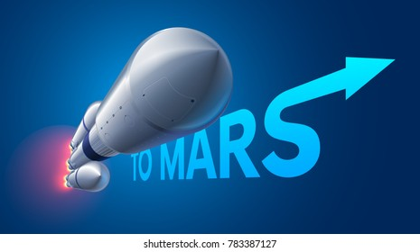 Heavy space rocket launch to Mars. Mission to Mars. The American space carrier. Falcon heavy vector illustration.