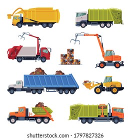 Heavy Special Sanitary Vehicles Set, Garbage Truck, Bulldozer, Waste Collection, Transportation and Recycling Concept Flat Style Vector Illustration