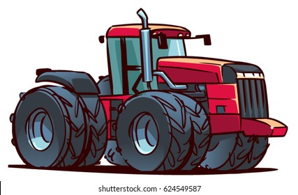 Heavy Tractor. Cartoon Illustration