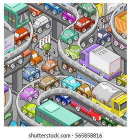 Heavy traffic reported on freeway, rush-hour traffic jam (vector, isometric)