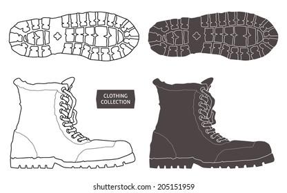 Heavy trekking boots. Vector graphics set.