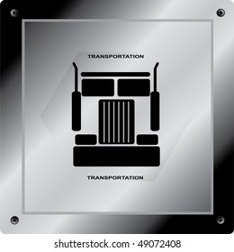 Heavy truck silhouette front view. Vector design element on metal table.