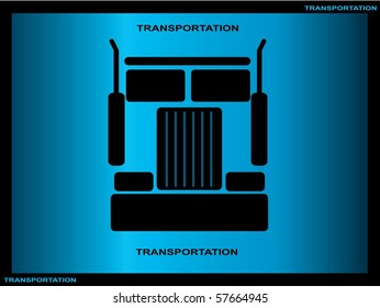 Heavy truck silhouette on blue background