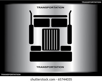Heavy truck silhouette on silver background