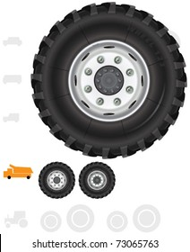 Heavy truck wheels (7). The series of the detailed wheels of the different vehicles in vector.