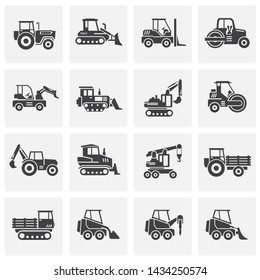 Heavy vehicle related icons set on background for graphic and web design. Simple illustration. Internet concept symbol for website button or mobile app.