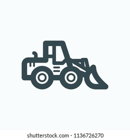 Heavy wheel loader icon, front loader vector icon