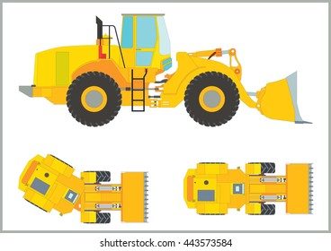 Heavy yellow wheel loader / Heavy yellow wheel loader with big bucket (side and top at the tine of rotation)