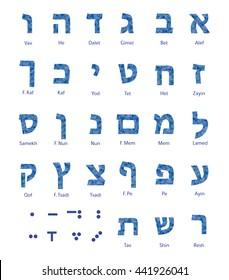 Hebrew alphabet - jewish letters isolated. Polygonal texture.