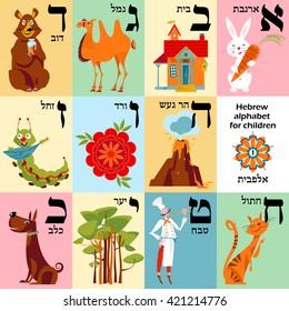 Hebrew alphabet with pictures for children. Set 1. Vector illustration