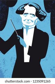 Hector Berlioz vector illustration