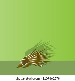 Hedgehog. Animal Icon in Paper Origami Style. Vector Illustration.