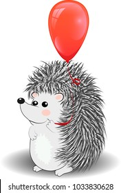 Hedgehog in cartoon style holding a red balloons in the shape of a heart. Valentine's Day card. Happy birthday print. Hand drawing hedgehog. Vector illustration. Love balloon background.
