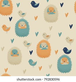 Hedgehog design, vector seamless pattern with birds and hearts