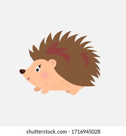 Hedgehog flat cute girl with blush. Childish illustration. Vector Adorable animal on isolated white background. Place for text. Copy paste. Design for t-shirt.