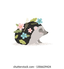 hedgehog with flowers, baby picture, vector