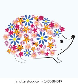 Hedgehog with flowers on his back. Cartoon character. A cute picture.