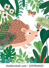 Hedgehog in forest pattern. Vector illustration